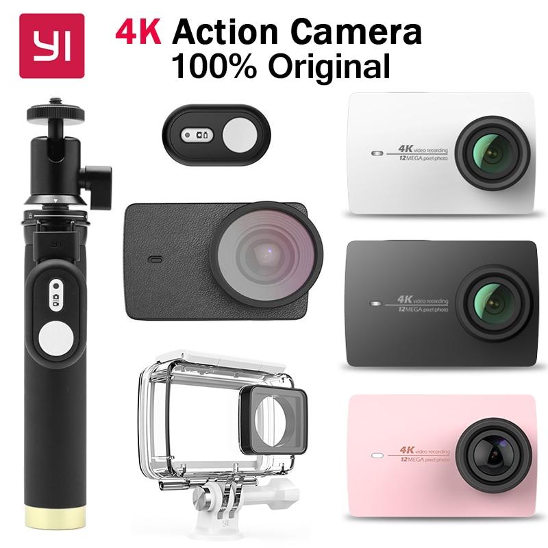 Original Xiaomi YI 4K Action Camera Ambarella A9SE Sports Action Camera 2.19 155 12.0MP CMOS EIS LDC   International Edition yi 4k action camera black 2 19lcd screen 155 degree eis wifi international edition ambarella a9se75 12mp cmos 5ghz wi fi