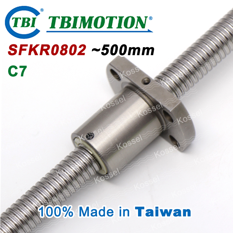 TBI ballscrew 0802 C7 500mm with SFK ball nut SFK0802 + end machined for high stability CNC kit set tbi left helix c3 ballscrew 1605 300mm sfu1605 nut end machined high precision for cnc diy parts