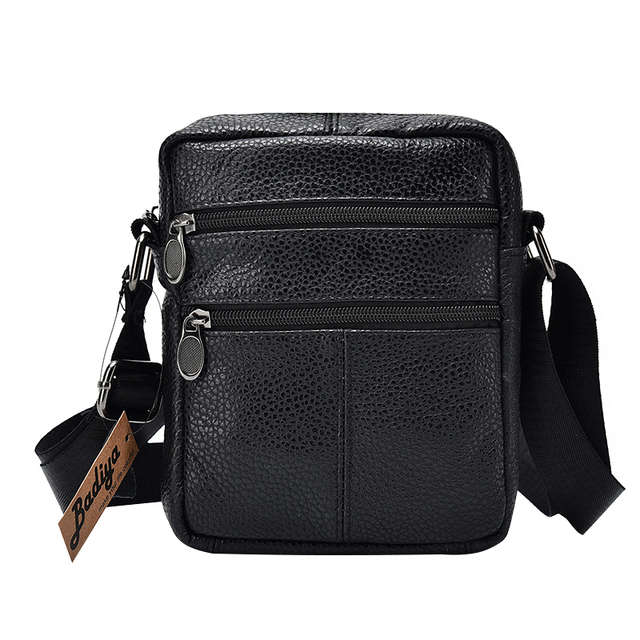 ae3cf81395e8 Genuine Cow Leather Men Business Messenger Bag Zipper Design Solid  Crossbody Bags Mens Large Capacity Black