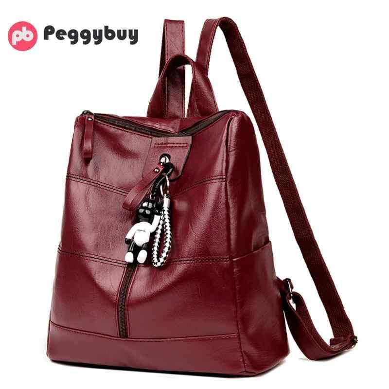 03035d6f703f Мягкие из искусственной кожи женские рюкзаки модные черные рюкзаки для ...