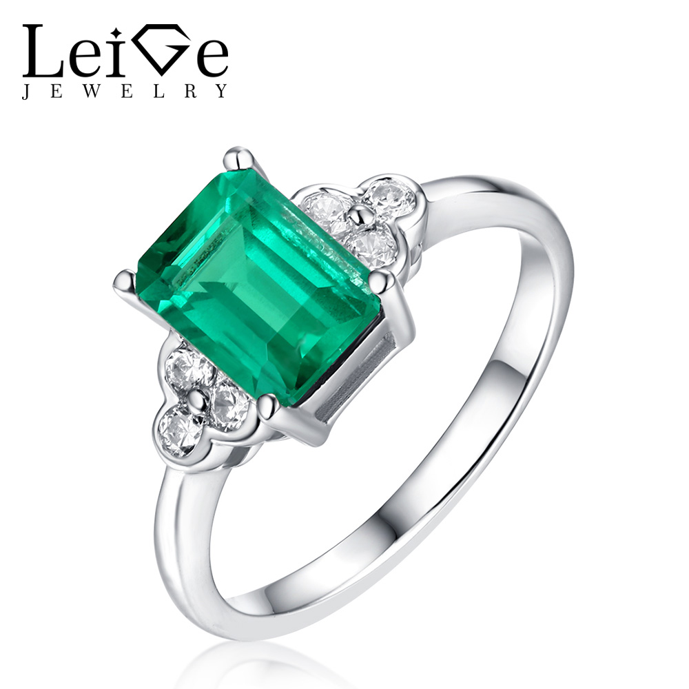Leige Jewelry Green Emerald Ring 925 Sterling Silver Wedding Anniversary  Rings For Women Promise Christmas Gift