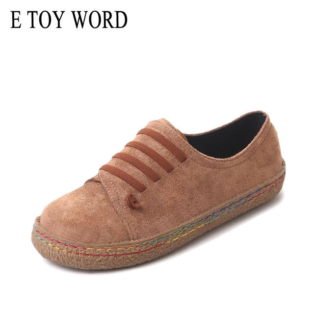E TOY WORD woman autumn flat shoes Suede soft bottom soft face wild casual shoes Korean shallow mouth lady shoes women
