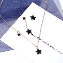 Shiny Black Star Necklace Jewelry Set Temperament Chokert Necklace clavicle For Women Best Birthday Gift Drop Shipping(China)