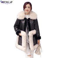 HENG JI Winter Clothing New Fur One Garment Women S Wear Wool Collar Medium Long Imitation