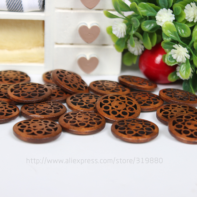 TIANXINYUE 30 pcs Brown wooden buttons 2-holes buttons 20mm Sewing Scrapbooking DIY Clothing Accessories