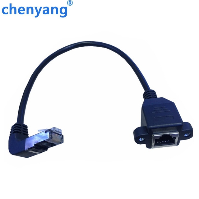 tracking number 90 degrees Up RJ45 Male to Female Screw Panel Mount Ethernet LAN Network Extension Cable