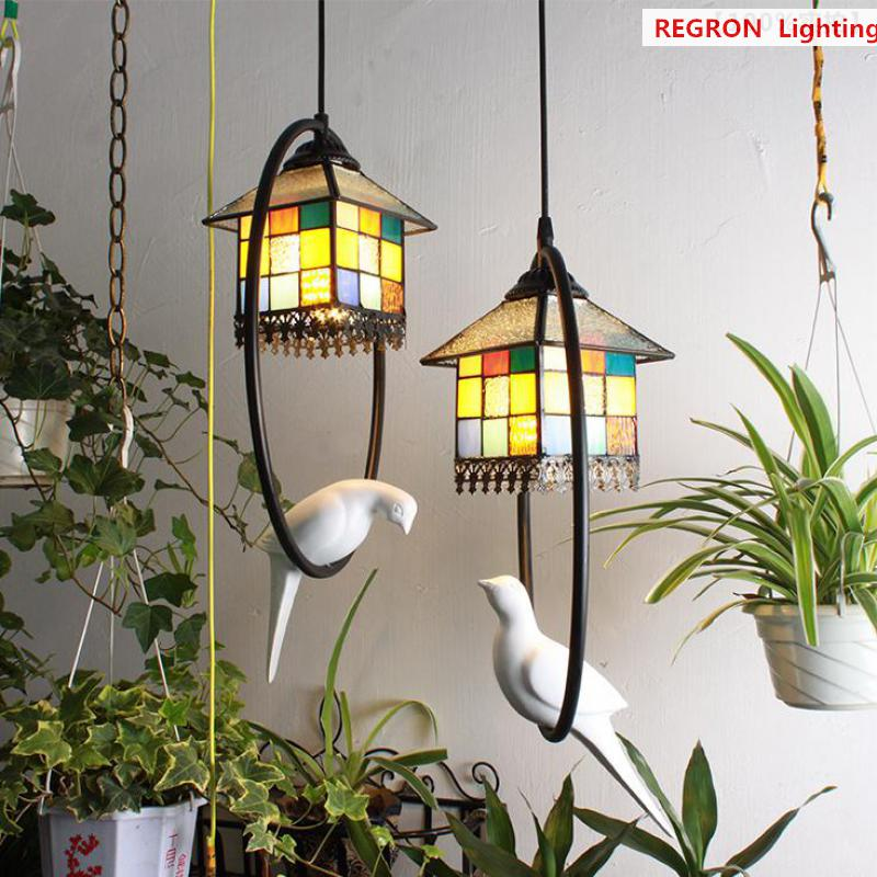 Art Deco Outdoor Hanging Lights: Regron Tiffany Pendant Lighting Home Garden Colorful Glass