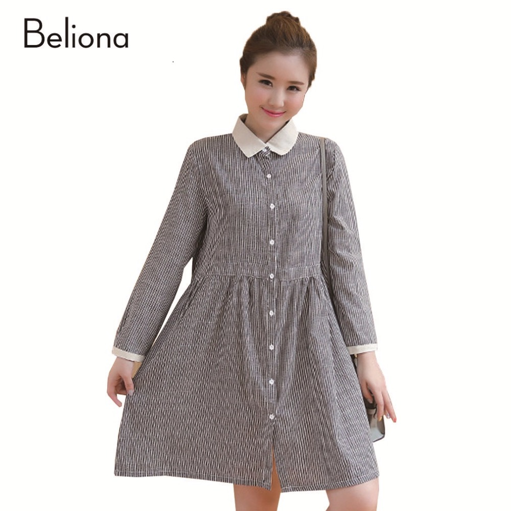 Turn-down Collar Stripes Pregnancy Shirt Dresses for Spring Long Sleeve Maternity Clothes Fashion Pregnant Clothing M-XXL