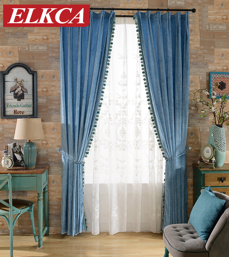 Mediterranean Classic Blue Embroidered Curtains for Living Room ...
