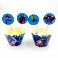 24pcs Cupcake Wrappers Topper Avengers Hero Superman Captain America Batman Hulk Iron Man Cake Decorations Boy Birthday Party