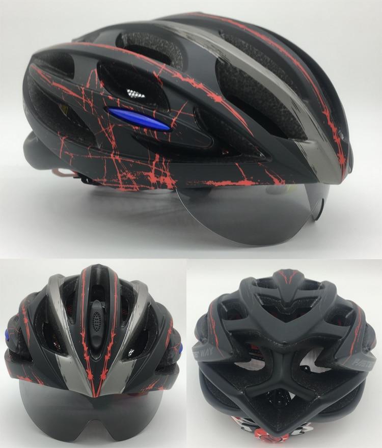 FASTERWAY Vélo Casque 3 Lentille Ultra-Léger VTT Vélo Vélo De route Casque pour Hommes Femmes Moulée Intégralement EPS Vélo Accessoires