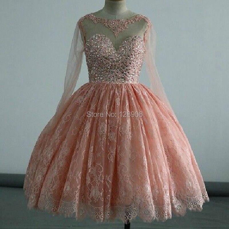 Coral Lace Short Homecoming Dresses 2016 Sexy Sheer Long Sleeves Semi Formal Dresses Girls Ball