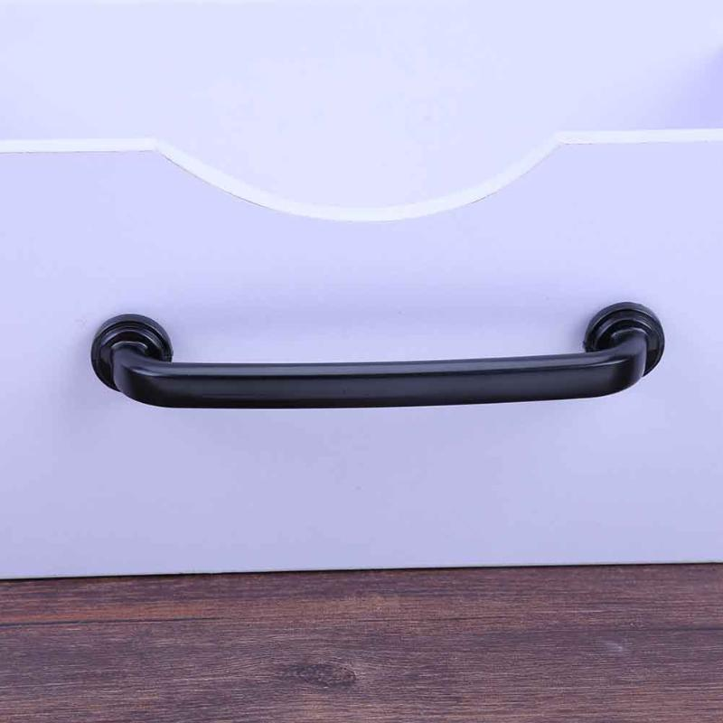1Pc Furniture Knobs Black Kitchen Door Handles Cupboard Wardrobe Drawer Pull Handle Cabinet Knobs and Handles Furniture Hardware 100pcs metal kitchen drawer cabinet door handle furniture knobs hardware cupboard shell pull handles
