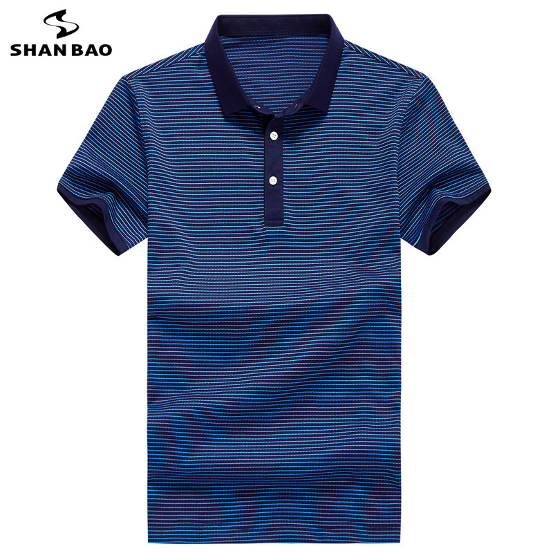 SHANBAO brand creative pinstripe business casual men's short-sleeved   Polo   shirt 2019 summer new fashion lapel   POLO   blue green