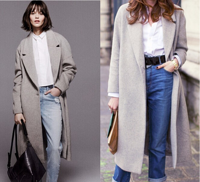 2016 Hollywood style new winter women's designer grey wool coats ...