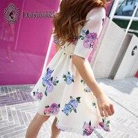 Dabuwawa White Autumn Dress Short Sleeve Elegant Floral Print Dress Round Neck Vintage Dress Vestidos