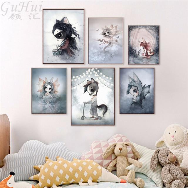 נורדי פיות יער Elf ארנב מצויר ילד ובנות מלאך בד ציור בצבעי מים צבי תינוק פוסטר חדר תפאורה קיר תמונה