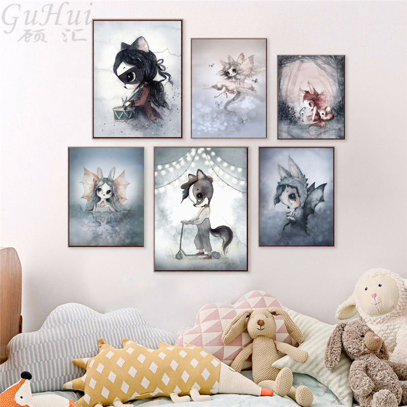 32663235b3aec Nordic Fairy Forest Cartoon Rabbit Elf Boy and Girls Angel Canvas Painting  Watercolor Deer Poster Baby Room Decor Wall Picture
