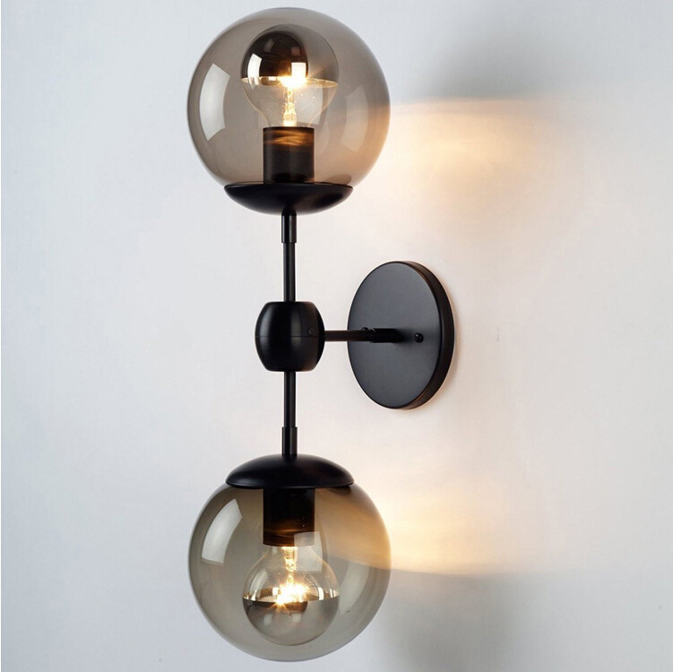 Industrial Smoky Glass Wall Light Iron Vintage Glass Ball Lampshade Up and Down Wall Light E27 Holder Indoor Wall Sconce amber glass lampshade round ball brass wall lamp e27 ac110v 220v beside sconce antique brass wall light up and down industrial