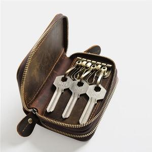 Image 4 - CICICUFF ของแท้หนัง Vintage หนังกระเป๋าสตางค์ 6 กุญแจผู้ถือ Organizer แม่บ้านกระเป๋าผู้ชาย