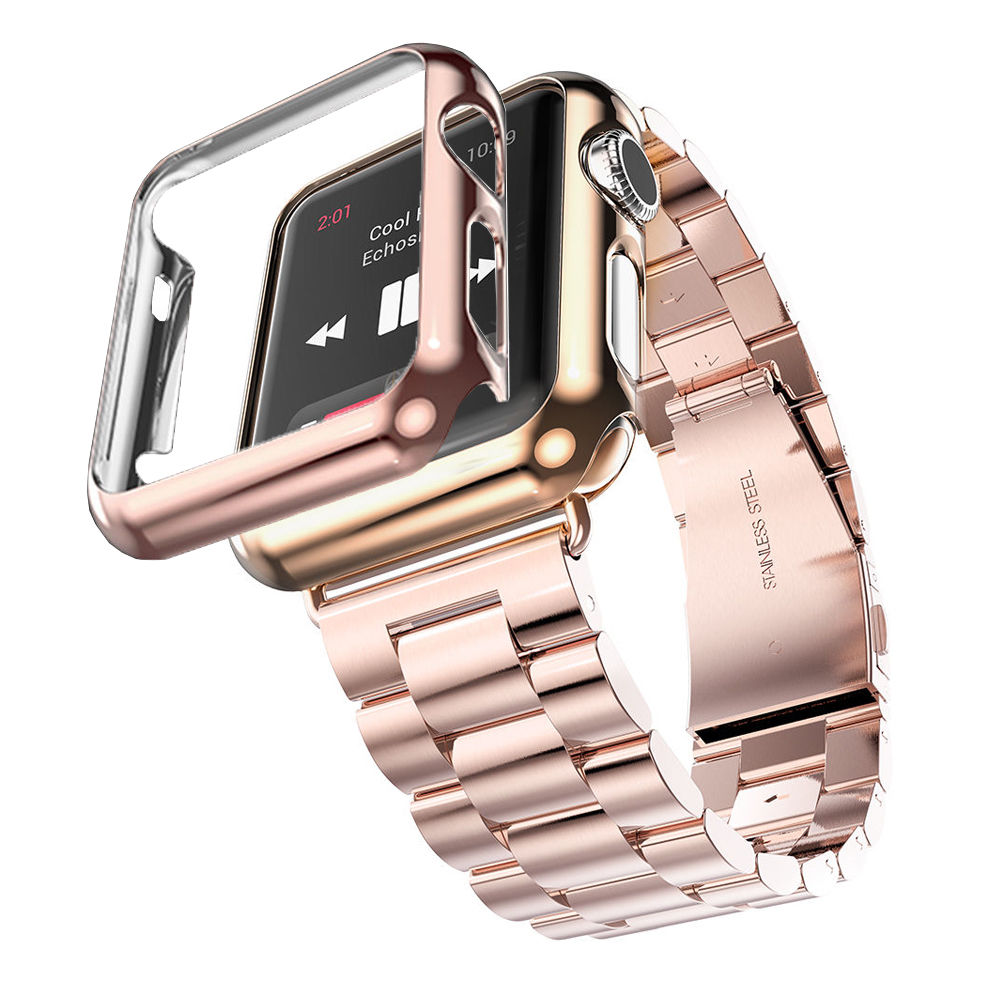 apple 3 watch bands. aliexpress.com : buy 38mm 42mm 3 points stainless steel strap gold plated protective case cover watch bands for apple iwatch watchband from reliable g