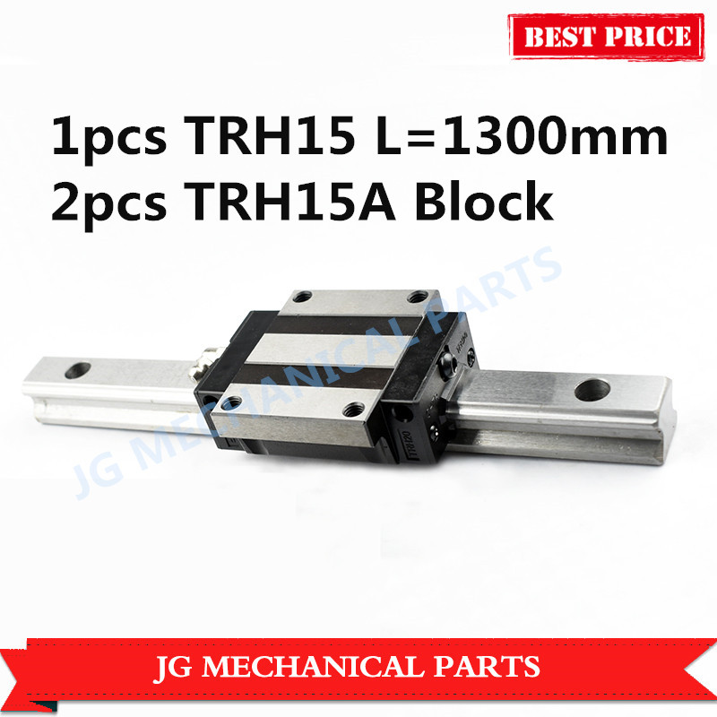 High quality 15mm Linear guide rail set:1pcs TRH15 L=1300mm linear motion guide with 2pcs TRH15A linear bearing block for CNC linear motion guide way square linear bearing guide linear guide brh25a