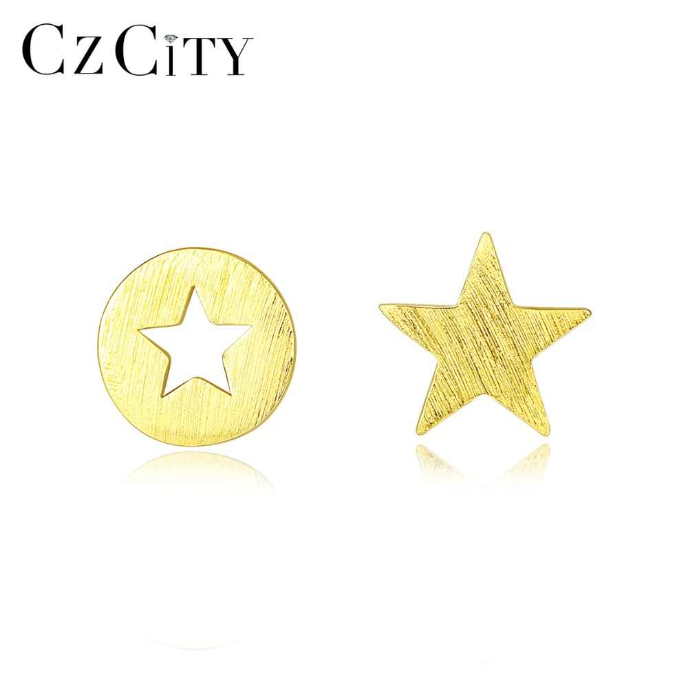 CZCITY Korean Personality Hollow Star Brushed Stud Earrings for Women 100% 925 Sterling Silver Cute Daily Wear Earrings Jewelry