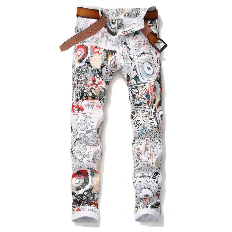 MORUANCLE Fashion Men Punk Style Painted Jeans Pants Stretch 3D Printed Denim Trousers For Male Stage Club Wear Size 29-38