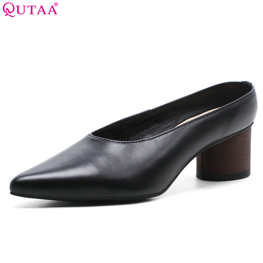 QUTAA 2018 Women Pumps Genuine Leather+pu Fashion Women Shoes Pointed Toe Suqare High Heel All Match Ladies Pumps Size 34-40 2015 fashion women pumps high heel pointed toe shoes soft leather elegant ladies wedding shoes red black size 34 40