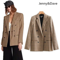 Jenny&Dave feminino Casual noched check plaid england style double breasted stirped blazers women Suit jacket plus size 2018