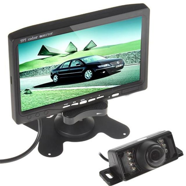 VENTA! 7 Pulgadas 193x135x25mm 480x234 Píxeles TFT LCD a Color Opinión Posterior del coche DVD VCR Monitor + 7 Luces DEL IR LED de Visión Trasera Del Coche cámara