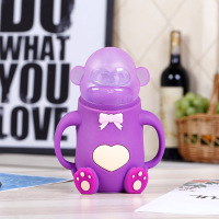 Cute Animal Monkey Glass Baby Infant Nursing Milk Water Feeding Bottle Silicone Nipple Pacifier Drink Bottle