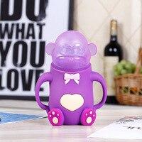Cute Animal Monkey Glass Baby Infant Nursing Milk Water Feeding Bottle Silicone Nipple Pacifier Drink Bottle