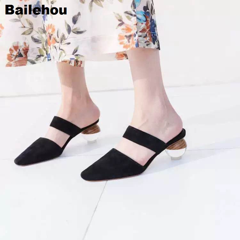 Bailehou Women Slippers Transparent Round Heel Mule Shoes Party Wedding Shoes Summer Closed Toe Slides Slip On Crystal Heel 5CMBailehou Women Slippers Transparent Round Heel Mule Shoes Party Wedding Shoes Summer Closed Toe Slides Slip On Crystal Heel 5CM