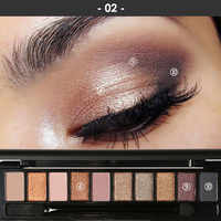 FOCALLURE 10 Colors Eyeshadow Palette Pro Earth Makeup with Brush Smoky Eye Shadow Shimmer Matte Mineral Waterproof Kits