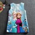 Мода на заказ летние девушки на анна принцесса дети Elsa дети платье ткань Cinderela платье Vestidos младенцев платья