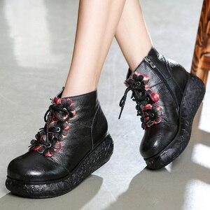 Image 3 - GKTINOO פלטפורמת מגפי נשים בעבודת יד עור אמיתי קרסול מגפי גבירותיי נעלי רך רטרו טריזי נעלי נשים
