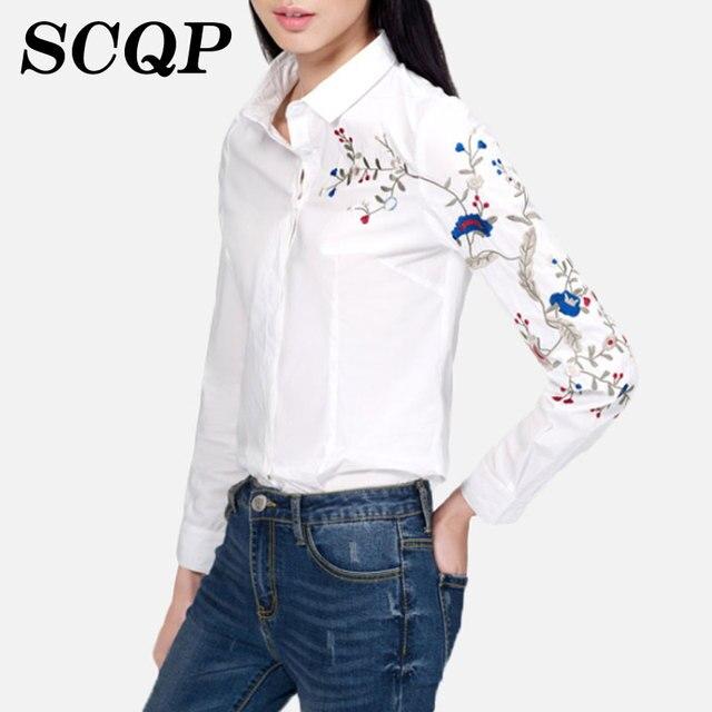 Птица вышивка дамы белые рубашки цветочные цветы нагрудные женщин 2016 новое поступление весна стиль свободного покроя тонкий женщины блузки