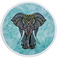 Elefante indiano Verão Grande Microfibra Impresso Rodada Toalhas de Banho Toalhas de Praia Com Borla Boemia Xale Espesso Tapete 150x150 cm