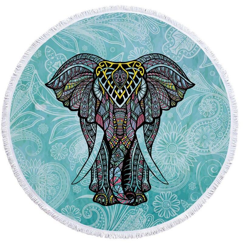 Indian Elephant Summer Large Microfiber Printed Round Beach Towels With Tassel Bohemia Bath Towels Shawl Mat Thick 150x150cm