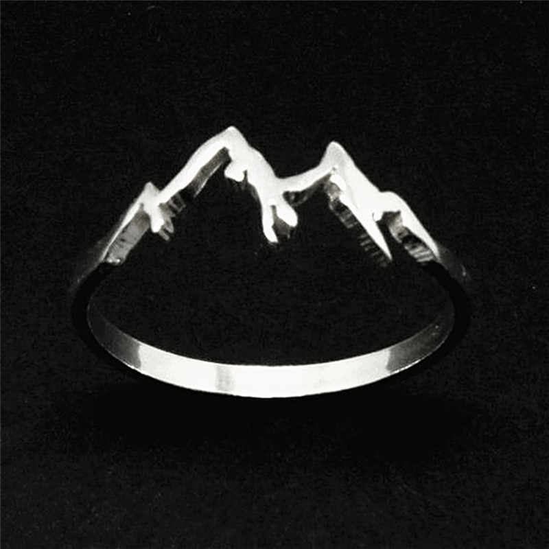 BOAKO 2018 Fashion Creative Mountain Range Ring Nature Motivation Jewelry Hiking Snowboard Lover Gift bijoux femme X7-M2