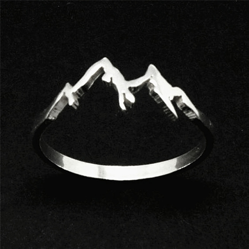 BOAKO Ring Jewelry Snowboard Mountain-Range Creative Nature Femme Lover Hiking Fashion title=