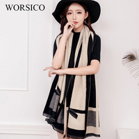 WORSICO High Quality Winter Thick Warm Scarf Shawl Fashion Plaid Pashmina Cashmere Scarf Women Poncho Cape