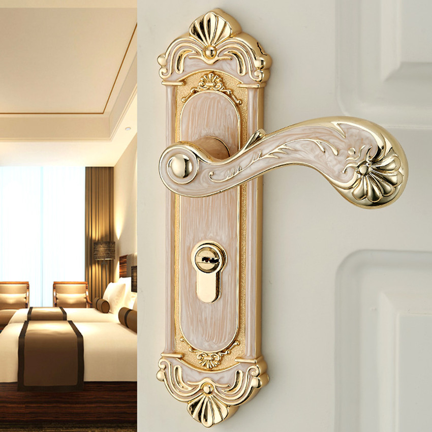 Europen fashion amber gold Interior solid wood panel handle lock amber white bedroom bookroom kitchen wooden door lock Modern european fashion ivory white bedroom bookroom door lock amber white indoor lock mechanical handle lock bearing lock body crystal