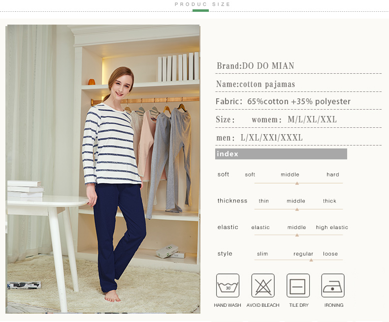 Pajamas, Cotton Stripes Sleepwear, Casual Long Sleeve Nightgown, O-neck Women Pajama Set Bottom Shirts +Long Pants 3