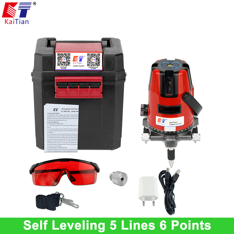KaiTian Laser Level 5 Lines 6 Points 1/4 and 5/8 Rod with Tilt Function and Outdoor 360 rotary Euro Plug 635 Level Laser Tools лазерный уровень kaitian 635nm 5 6 5 lines 6 points laser level
