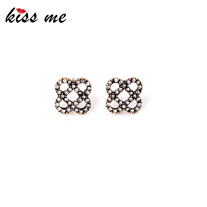 Retro Fashon Jewelry New Small Alloy Hollow Out Flowers Stud Earrings for Women Factory Wholesale