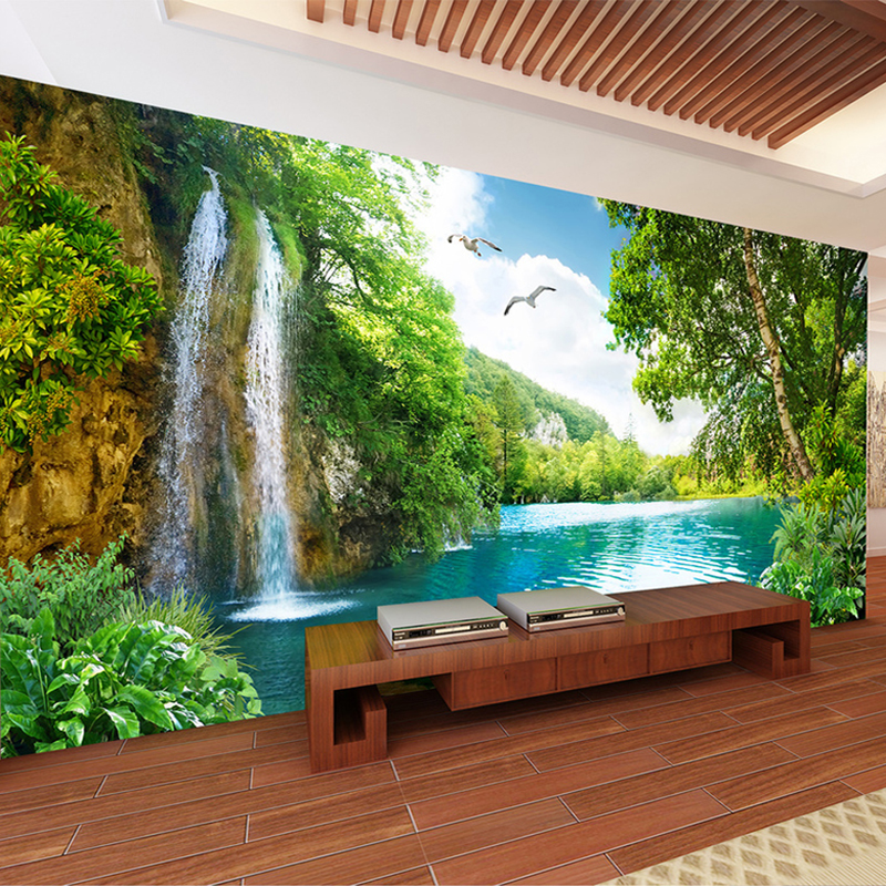 Custom 3D Wall Mural Wallpaper Home Decor Green Mountain Waterfall Nature Landscape 3D Photo Wall Paper For Living Room Bedroom Стол