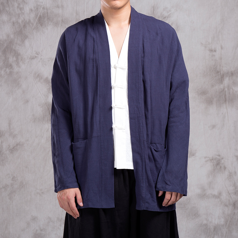 Male Spring Autumn Loose Kimono Overcoat Men Cotton Linen Cardigan Jacket China Style Kongfu Costumes Coat