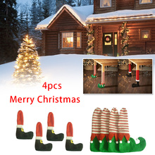 4PCS Dining Table Chair Leg Socks Santa Claus Cute Elf Styles Christmas Decoration New Year Gift Prevent Scraping Decorations